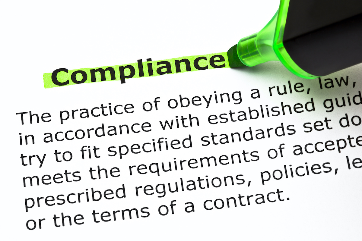 Definition of the word Compliance, highlighted with green felt tip pen; Blog: Prioritize Compliance